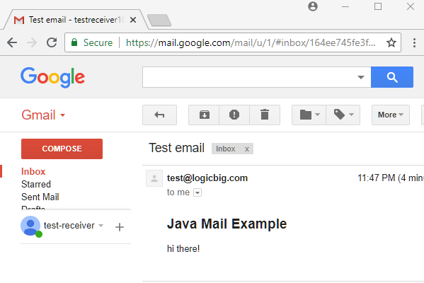 JavaMail - Sending email example