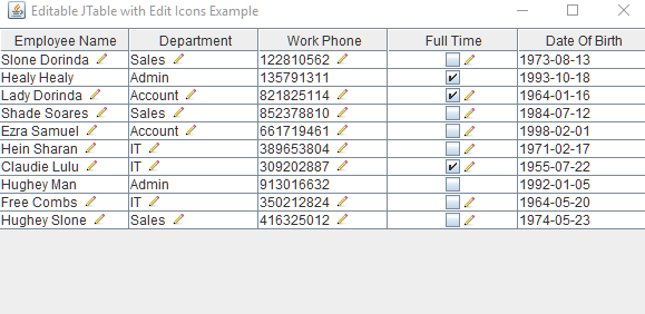 Java Swing - Editable JTable With Edit Icons