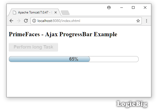 PrimeFaces - Ajax ProgressBar Example