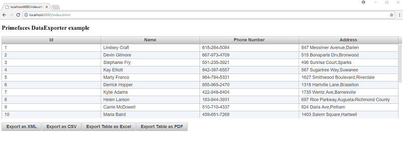 Export your datatable to excel and pdf using primefaces.