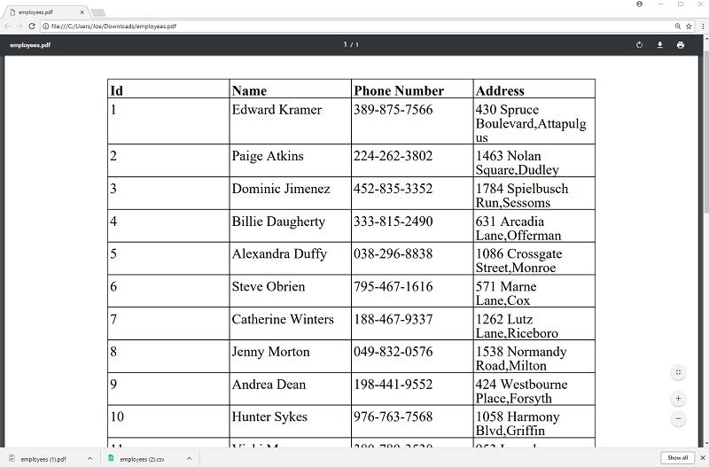 PrimeFaces - DataExporter Example