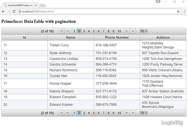 PrimeFaces - DataTable Pagination