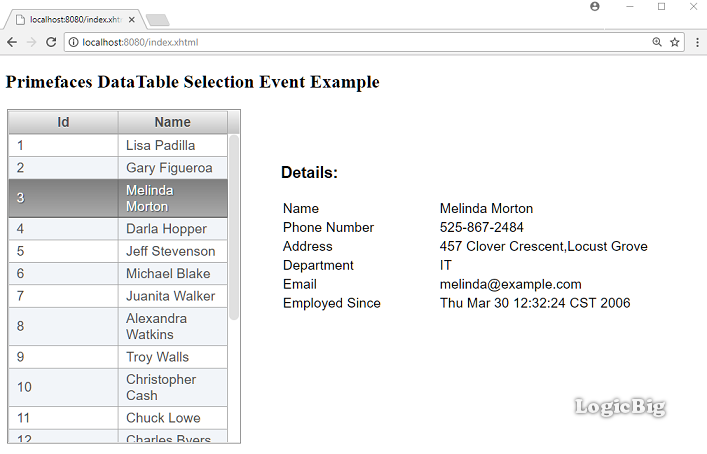 PrimeFaces - DataTable Selection Event Example