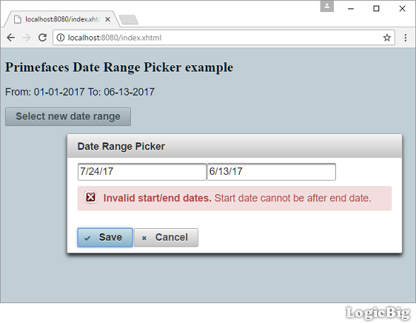 PrimeFaces - Date Ranger Picker