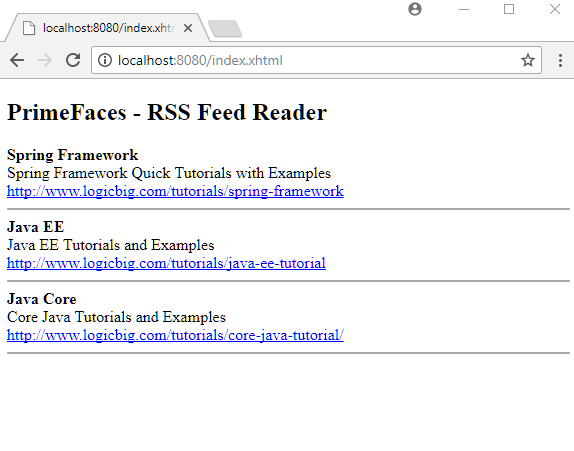PrimeFaces - Using FeedReader to Display RSS Feed