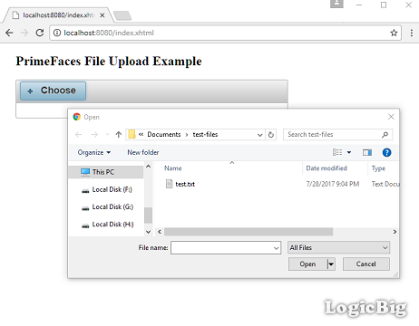 PrimeFaces - File upload via Ajax