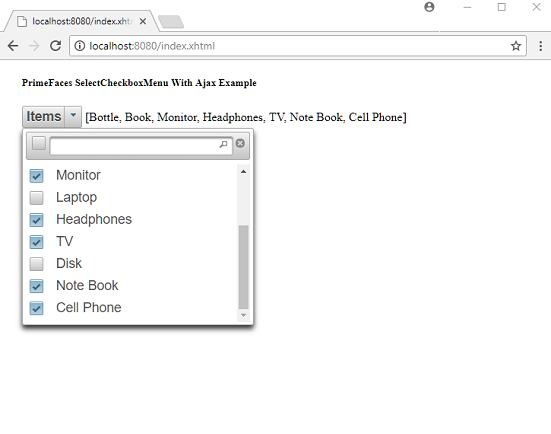 PrimeFaces - SelectCheckboxMenu With Ajax update Example