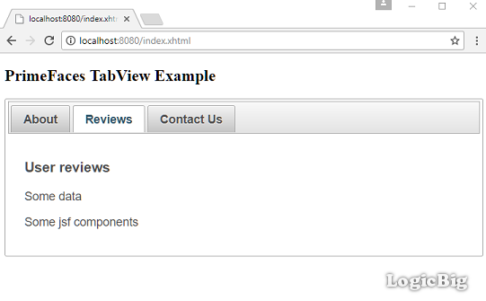 PrimeFaces - TabView Example