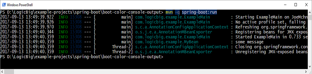 Spring Boot - Enabling Color Coded Output