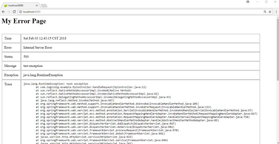 Spring Boot - Custom Error Page in JSP