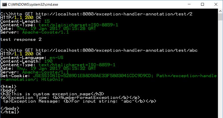Spring MVC - @ExceptionHandler Example