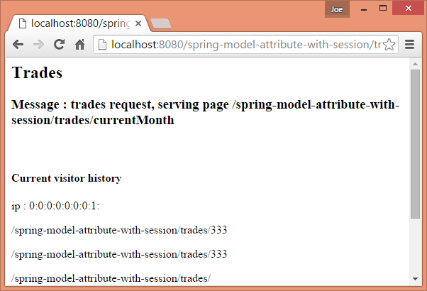 Spring MVC - @SessionAttributes and @ModelAttribute Example