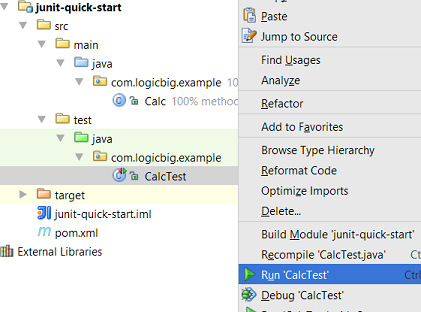 JUnit quick start, writing first test